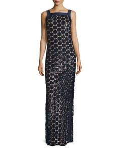 W0FQQ Michael Kors Circle Paillette-Embellished Column Gown, Navy