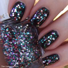 Essie Lux Effects Jazzy Jubilant over black matte