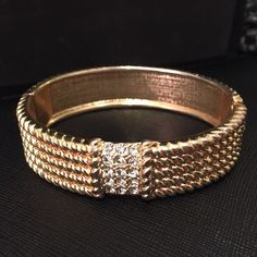"""Textured Gold Bracelet 18K gold plated base metals  Glass crystals  Nickel and lead free   Fits up to 8"""" wrist T&J Designs Jewelry Bracelets"""