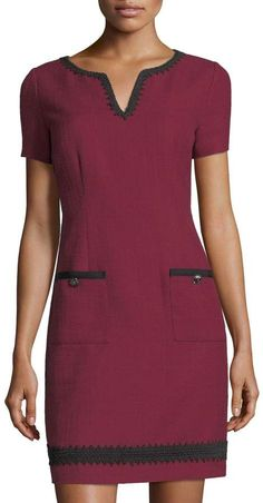 Shop Short-Sleeve Tweed Sheath Dress from Karl Lagerfeld Paris at Neiman Marcus Last Call, where you'll save as much as on designer fashions. Karl Lagerfeld, Professional Wardrobe, Wardrobe Basics, Work Wardrobe, Capsule Wardrobe, Wool Dress, Tweed, Classy Outfits, Work Outfits