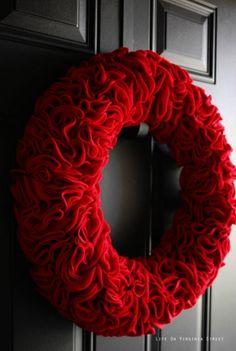 Red Ruffle Wreath | DIY Christmas Wreaths | Holiday Creative DIY Wreath Ideas, see more at: http://diyready.com/diy-christmas-wreaths-front-door-wreath-ideas-you-will-love/