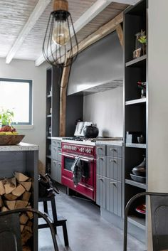 gray kitchen + red o