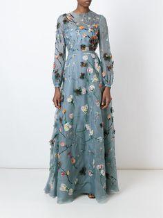 Valentino вечернее платье с цветочной вышивкой