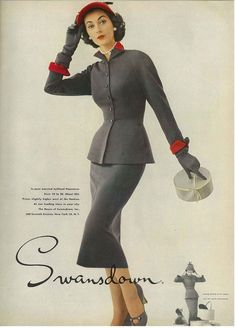 Dovima in a 1950s advert for Swansdown ... OMG, this outfit is amazing!!!
