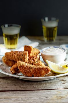 Chunky fish fingers with cheat's lemon aioli. #Recipe