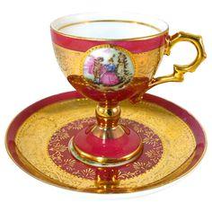 SOLD Royal Vienna Demitasse Cup  Saucer Beehive Fragonard Romantic Couple