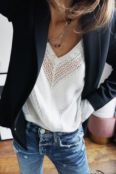 lace, blazer, distressed jeans