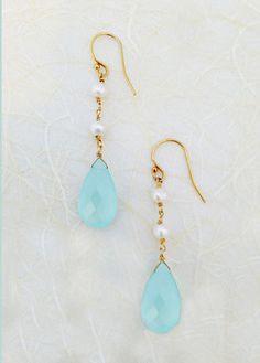 sea green aqua chalcedony earrings