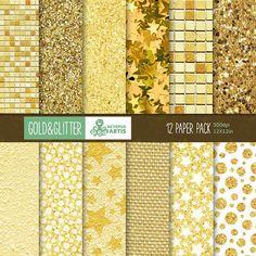 Gold & Glitter: 12 Digital Paper Pack. Gold glitter texture, gold background, gold stars.