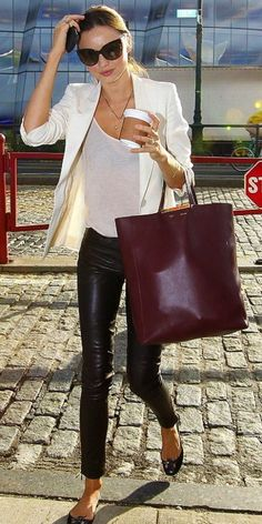 Why I love Miranda Kerr's style: Nothing is as classy-cool as leather pants + a see-through top.