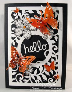 Dar's Crafty Creations: Double D - Black & White w/Pop of Color