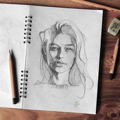 "4,292 Likes, 29 Comments - Miroslav Zgabaj (@miro_z_art) on Instagram: ""Sketchbook Photo reference - @tashimrod by @erikbdanielson #face #portrait #sketch #sketchbook…"""