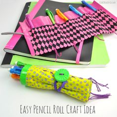 Easy Pencil Roll Craft Idea for Back to School by Club Chica Circle.