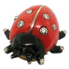 CARTIER. Coral Diamond Black Laquer Ladybug Brooch.