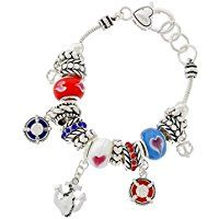Nautical Charm Bracelet D9 Red White Blue Murano Glass Beads Silver Tone