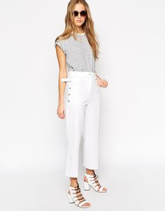 Image 1 ofASOS High Waist Utility Trousers with Button Detail and Raw Hem