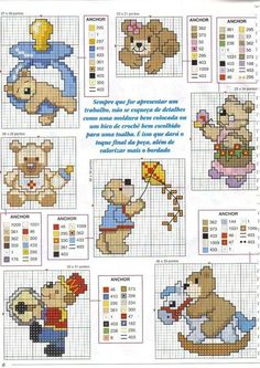 esquemas baberos punto cruz (3)   Aprender manualidades es facilisimo.