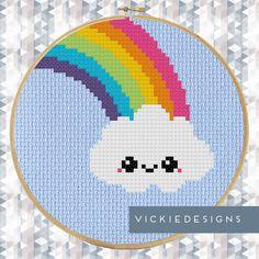 Hey, I found this really awesome Etsy listing at https://www.etsy.com/listing/225413720/rainbow-kawaii-cloud-modern-cross-stitch