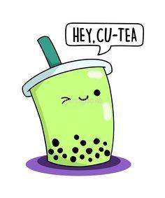 'Hey Cu-Tea Food Pun' by punnybone – Funny food puns – Cute Food Drawings, Cute Kawaii Drawings, Kawaii Doodles, Cute Doodles, Food Drawing Easy, Funny Doodles, Funny Food Puns, Puns Jokes, Food Humor