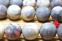 32 pcs of Natural Porcelain Jasper matte round beads in 12mm