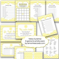 Sunshine Baby Shower 8 Game Pack / yellow purse by lemontreecards