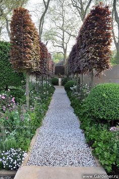 Love the stone path and the plinths. By Arne Maynard, Chelsea Flower Show 2012
