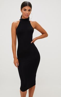 Black High Neck Midi DressBasic but seriously sexy! This high neck midi dress is perfect for thos...