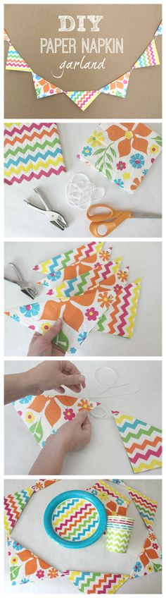 DIY Paper Napkin Garland This is very smart, easier and cheaper than (scrapbook)paper.