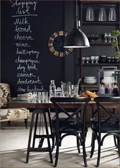 chalk board in a black kitchen