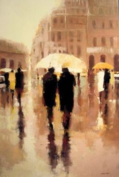 Lorraine Christie all her works are pretty much rainy street scenes like this one. Very nice