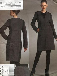 FREE usa SHIP Vogue 2990 Donna Karan DKNY 2007 Coat Skirt Combo Jacket Suit Designer Sewing Pattern  Size 6 8 10 out of Print by LanetzLivingPatterns on Etsy