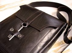 Brown Leather Messenger with Antique Key - Espresso Deluxe Steampunk - Made To Order