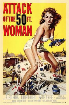 "Attack of the 50 Foot Woman 11x17 Movie Poster (1958). CAST: Allison Hayes, William (Bill) Hudson, Roy Gordon, Yvette Vickers, George Douglas, Ken Terrell, Michael Ross, Frank Chase, Eileen Stevens, Otto Waldis; DIRECTED BY: Nathan (Hertz) Juran; PRODUCER: Allied Artists;  Features:    11"" x 17""   Packaged with care - ships in sturdy reinforced packing material   Made in the USA  SHIPS IN 1-3 DAYS"