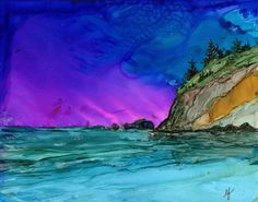 Original Alcohol Ink painting- 8x10 yupo with white 11x14 mat. Ocean