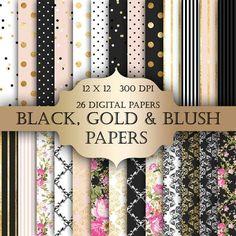 Gold Foil Shabby Chic Digital Papers - black gold polka dot stripes damask floral glitter printable backgrounds scrapbooking invitations