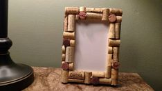 Hand made wine cork photo frame by GlassycraftsbyJill on Etsy Recycled Wine Corks, Cork Art, Wine Cork Crafts, Candle Sconces, Picture Frames, Wall Lights, My Etsy Shop, Diy Crafts, Display