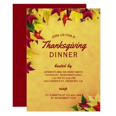 Red Maple Leaves Thanksgiving Dinner Invitation - invitations custom unique diy personalize occasions
