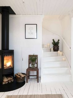 wood burning stove in the living room Decoration Inspiration, Interior Inspiration, Living Room Decor, Living Spaces, Scandinavian Home, Scandinavian Fireplace, Home And Deco, My Dream Home, Home And Living