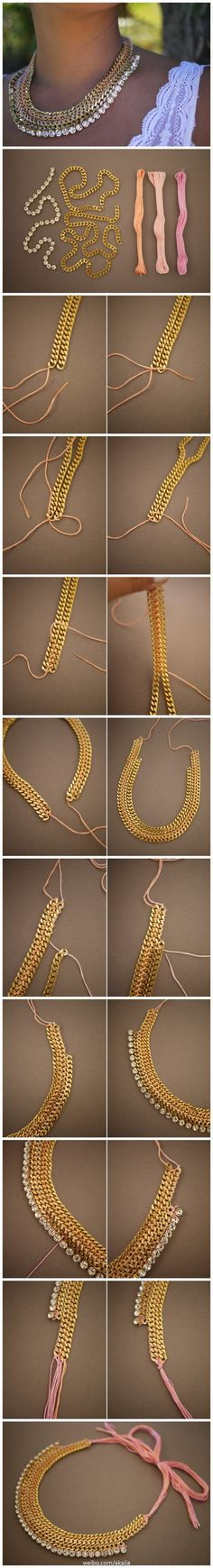 DIY chain necklace. Ditch the rhinestones and tie them together with fishing line so its clear and then have strong/ribbon looped at the end to tie