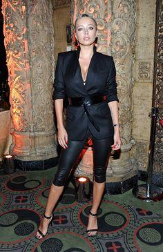 Caroline Vreeland in a black belted blazer, leather leggings and black stilettos at the Marc Jacobs Celebrates Divine Decadence event on July 21, 2016.