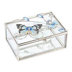 Juliana Blue Butterfly Trinket Box