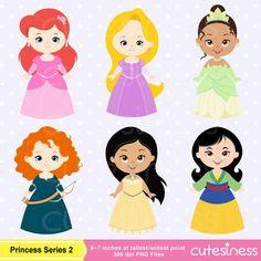 cute princess digital clipart disney princess by cutesiness
