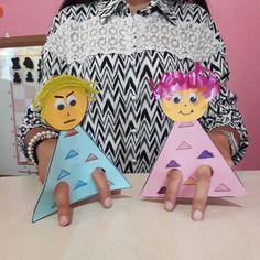 Üçgen çocuklardan parmak kuklalarımız