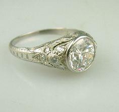Antique Deco Traub Platinum Diamond Engagement Ring Vintage Estate Jewelry