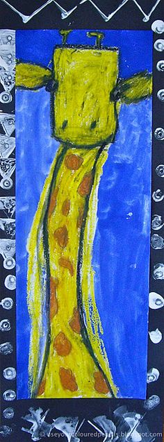 giraffe portraits - - oil pastels, paint and cardboard printmaking. Fun!