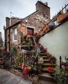 Gorgeous picture of a cottage in Stockbridge by have you walked past it before? Walk Past, Edinburgh Scotland, Curb Appeal, Foto E Video, United Kingdom, Cool Photos, Beautiful Places, Beautiful Flowers, Places To Visit