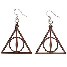 Green Tree Jewelry Deathly Hallows Earrings Brown -- Continue to the product at the image link. (This is an affiliate link) Jewelry Tree, Deathly Hallows, Girls Earrings, Green Trees, Chandelier, Jewelry Making, Ceiling Lights, Amazon, Brown