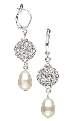 Earrings with Crystal and Rhodium-Plated Pewter Beads and Swarovski Crystal Pearls