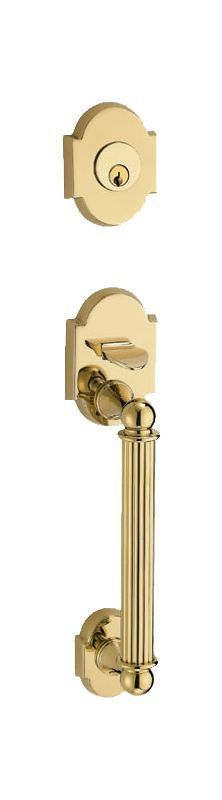 Fusion P9DUMMY Dummy Handleset with a Ribbon Handle Featuring a Two-Piece Bevele Polished Brass Handleset Dummy Set