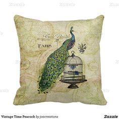 Vintage Time Peacock Throw Pillow